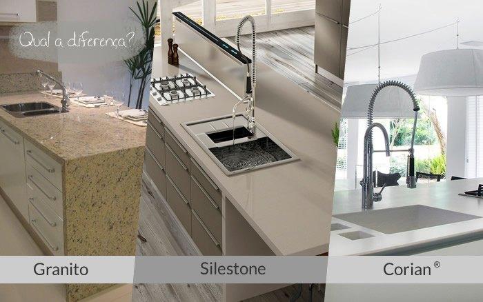 Diferença entre Granito, Silestone e Corian