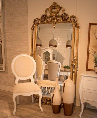 Espelho de Chão Dourado