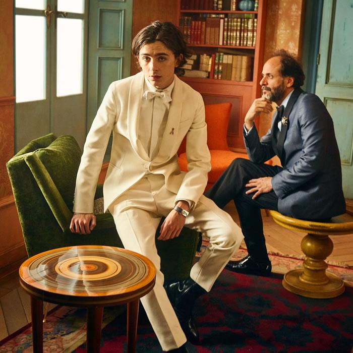 Timothee Chalamet, indicado ao prêmio de melhor ator e  Luca Guadagnino, diretor do filme Me chame pelo seu nome, também indicado ao prêmio de melhor filme.