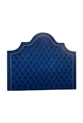 Cabeceira Estofada com Capiton� e Tachas Veludo Azul