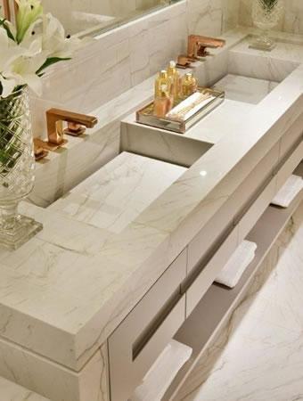 Foto Bancada Mármore Carrara Banheiro