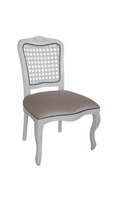 Cadeira provençal encosto palha branca